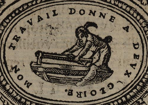 Pictura of Scève, Maurice: Délie (1544): MON TRAVAIL DONNE A DEUX GLOIRE.