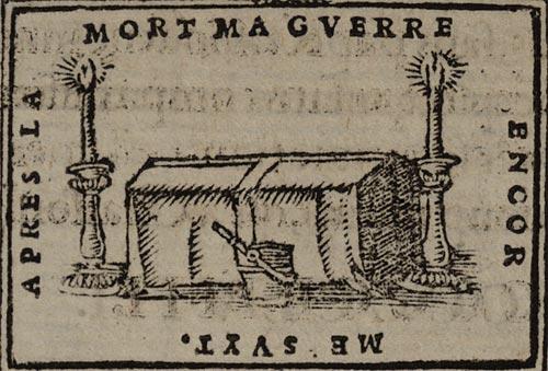 Pictura of Scève, Maurice: Délie (1544): APRES LA MORT MA GUERRE ENCOR ME SUYT.